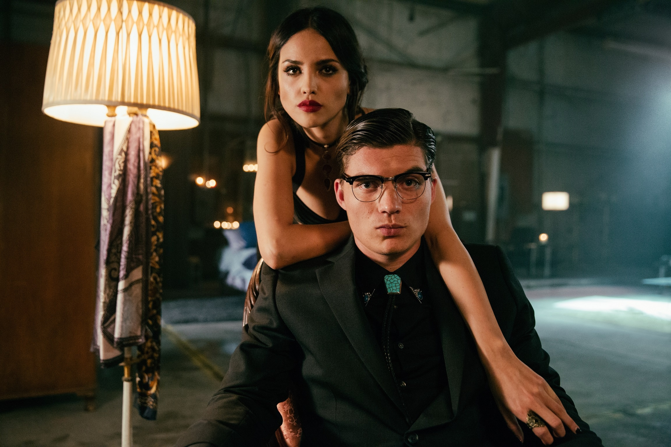From Dusk Till Dawn: The Series, for El Rey Network and Miramax®. L to R; Eiza Gonzalez as Santanico Pandemonium and Zane Holtz as Richie Gecko.