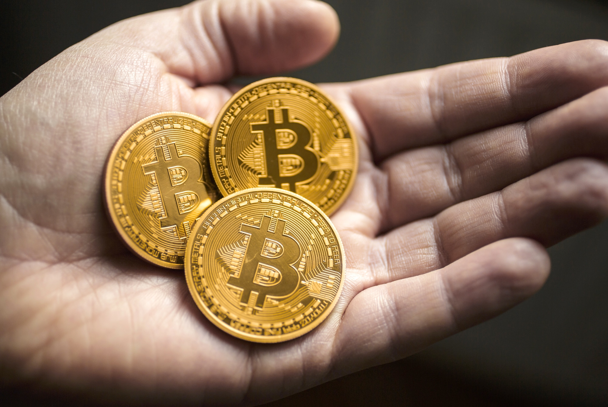 BERLIN, GERMANY - JANUARY 13: In this photo illustration model Bitcoins lies in a hand on January 13, 2014 in Berlin, Germany. (Photo by Thomas Trutschel/Photothek via Getty Images)